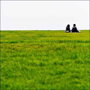 Two distant people sitting in a meadow