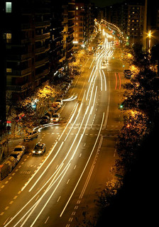 Long-exposure picture of nighttime traffic