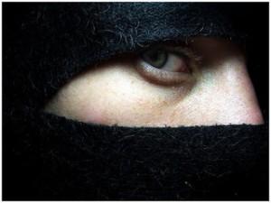 Close up of ninja mask