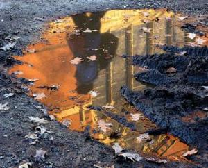 Shallow puddle with reflection