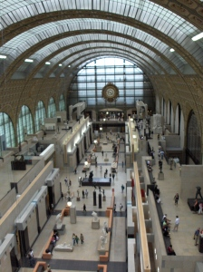 Bird's eye view of the Musee D'Orsay main exhibit hall