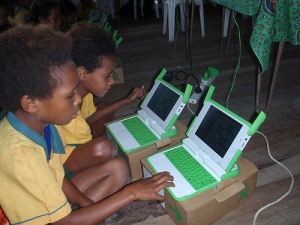 Papuan children receiving laptops