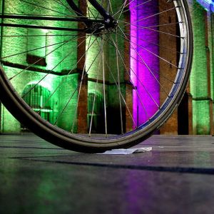Closeup of bicycle wheel