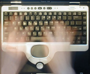 Ghostly fingers on a keyboard