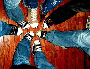 A circle of people's feet