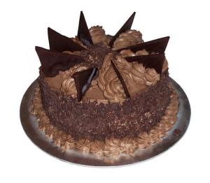 fancy cake with chocolate fins
