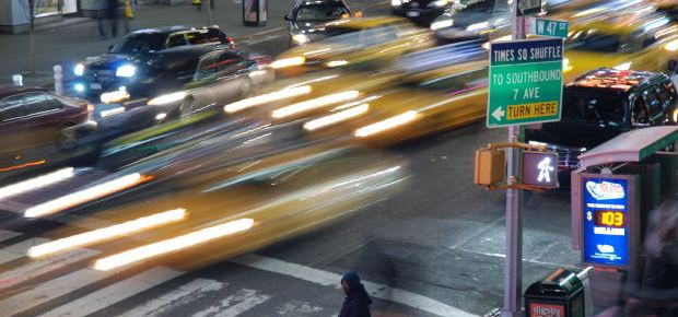 Long-exposure blurred NYC traffic