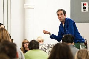 Rushkoff speaking to a group